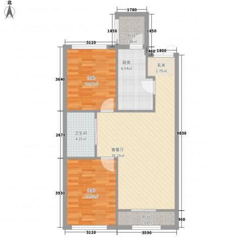 融泽家园2室1厅1卫1厨93.00㎡户型图