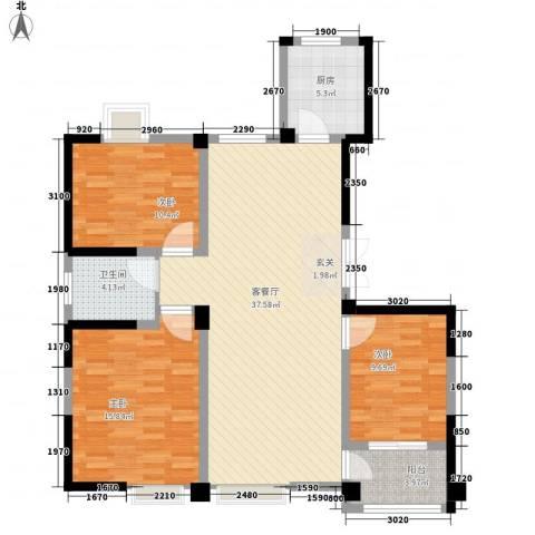 新邦涌金门3室1厅1卫1厨127.00㎡户型图