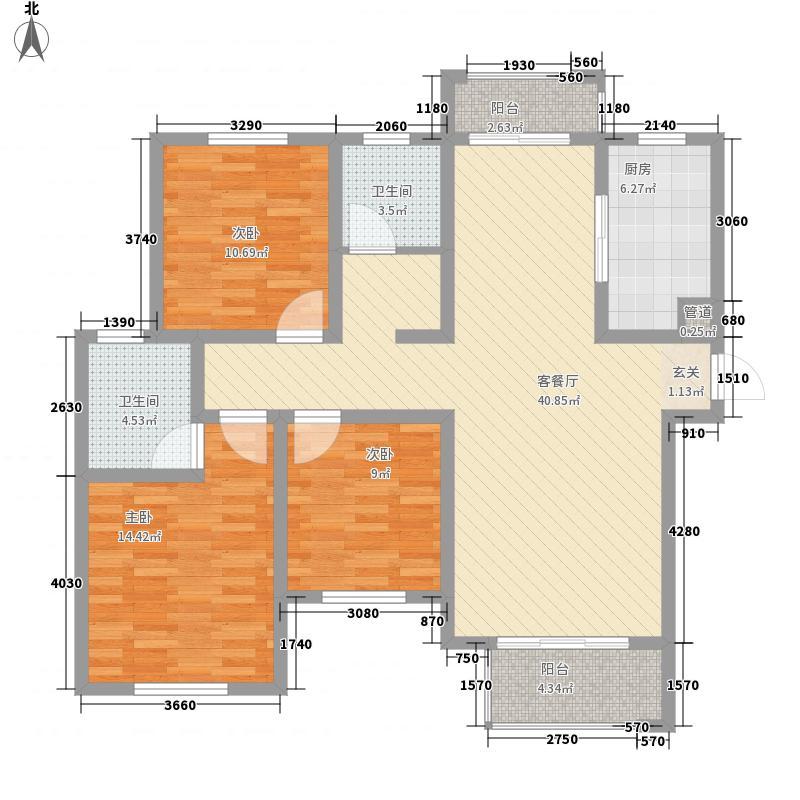 建业壹号城邦13.60㎡C3户型3室2厅2卫1厨