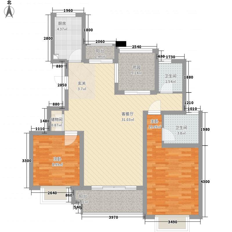 青岛花园116.00㎡A户型2室2厅2卫1厨