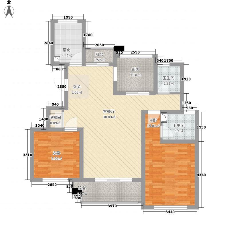青岛花园116.00㎡A3户型2室2厅2卫1厨