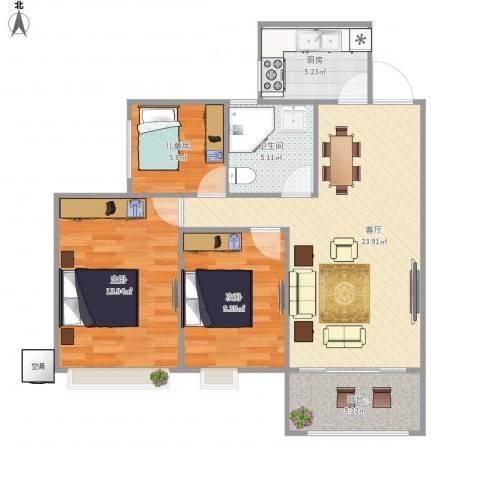 达安上品花园3室1厅1卫1厨73.95㎡户型图
