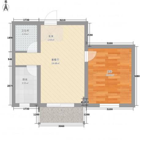 正泰园B区1室1厅1卫1厨48.00㎡户型图