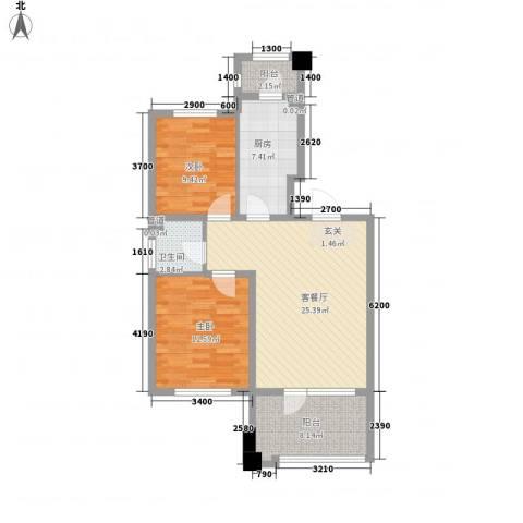 丰远・泗水玫瑰城2室1厅1卫1厨87.00㎡户型图