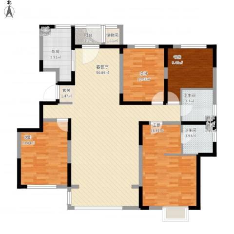 赛德馨苑4室1厅5卫1厨172.00㎡户型图