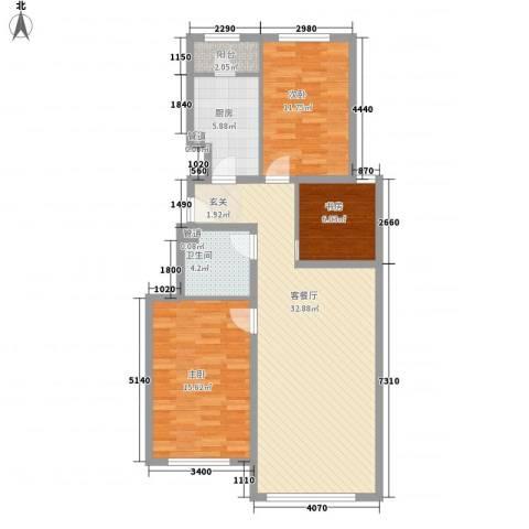世嘉正园3室1厅1卫1厨112.00㎡户型图