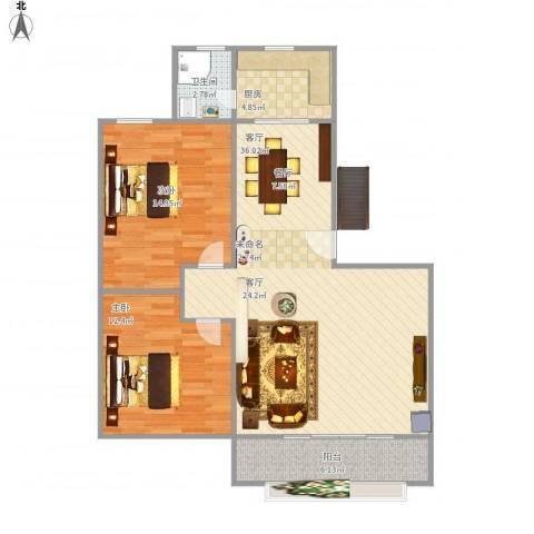 金湖雅苑2室1厅1卫1厨95.00㎡户型图