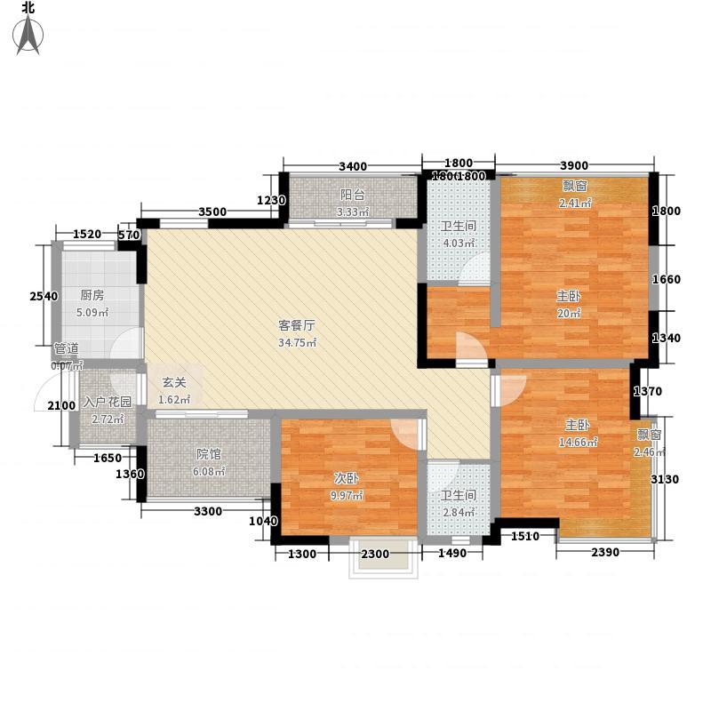 宏帆广场123.20㎡8幢2-33层5号房双卫户型3室2厅2卫2厨