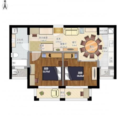 路劲天御2室1厅1卫2厨90.00㎡户型图