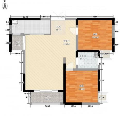 世纪城・江南2室1厅1卫1厨104.00㎡户型图