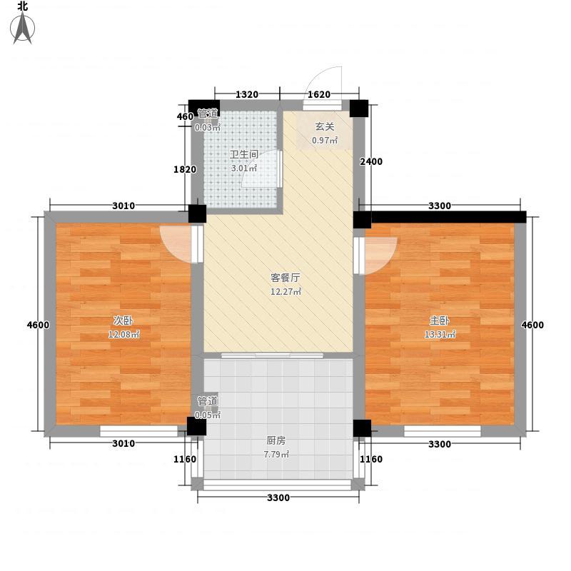 山水龙城62.00㎡户型2室1厅1卫