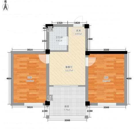 山水龙城2室1厅1卫1厨62.00㎡户型图