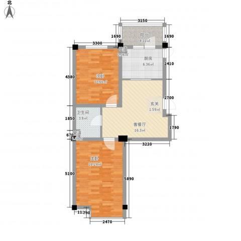 山水龙城2室1厅1卫1厨82.00㎡户型图