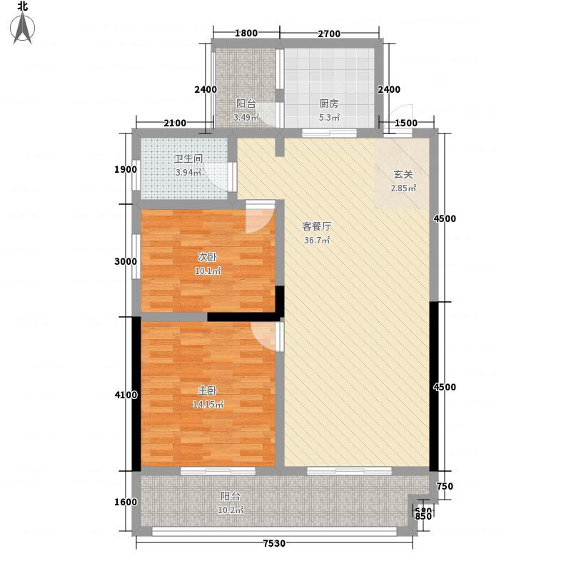 水岸绿洲二期3111.52㎡D3户型2室2厅1卫1厨