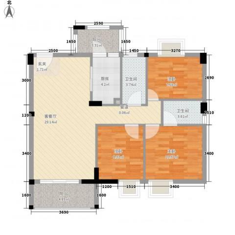 骏隆轩・幸福里8号3室1厅2卫1厨106.00㎡户型图