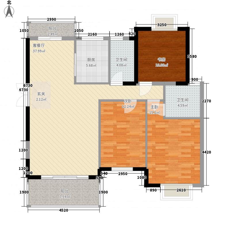 中房文博花园145.00㎡户型3室