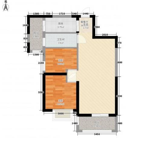 宁德万达广场2室1厅1卫1厨54.99㎡户型图