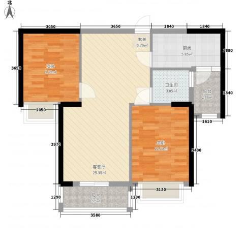 宁德万达广场2室1厅1卫1厨61.54㎡户型图