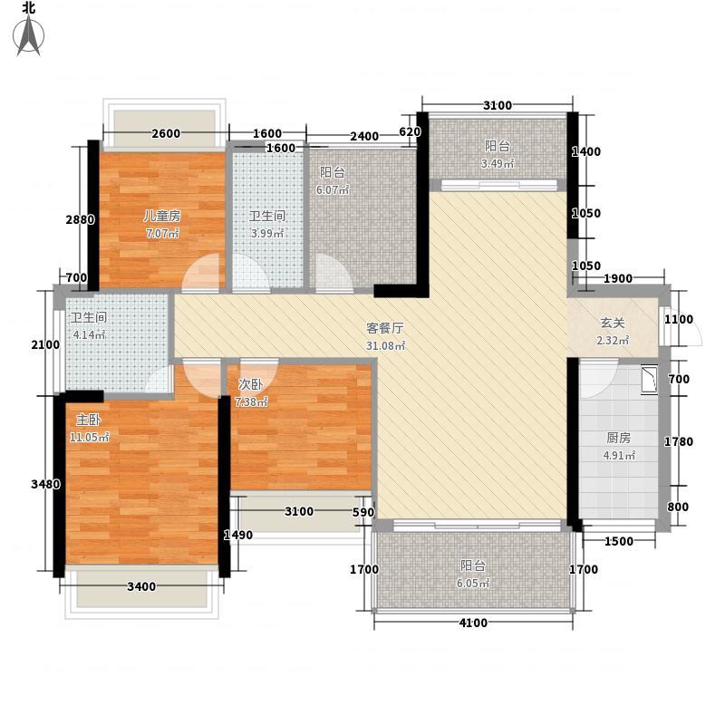 星海湾华庭113.50㎡6/7幢01户型3室2厅2卫1厨