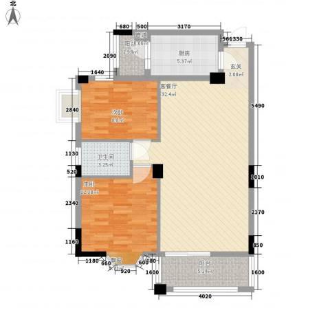 怡福阳光花园2室1厅1卫1厨98.00㎡户型图