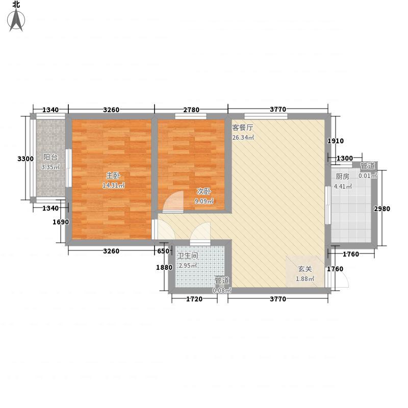 燕丰园74.00㎡12号楼B户型2室2厅1卫1厨