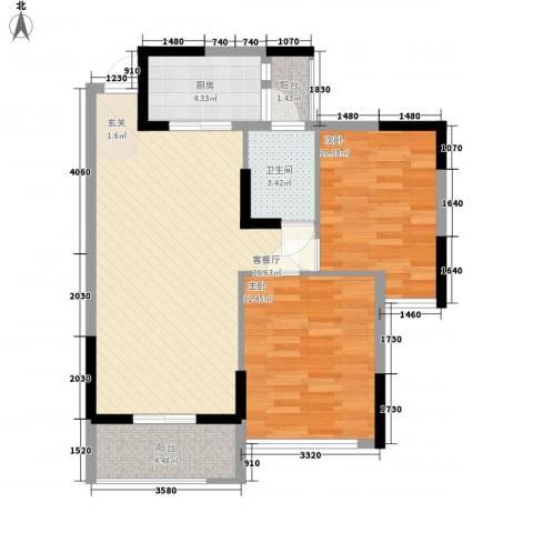 丽郡2室1厅1卫1厨63.12㎡户型图