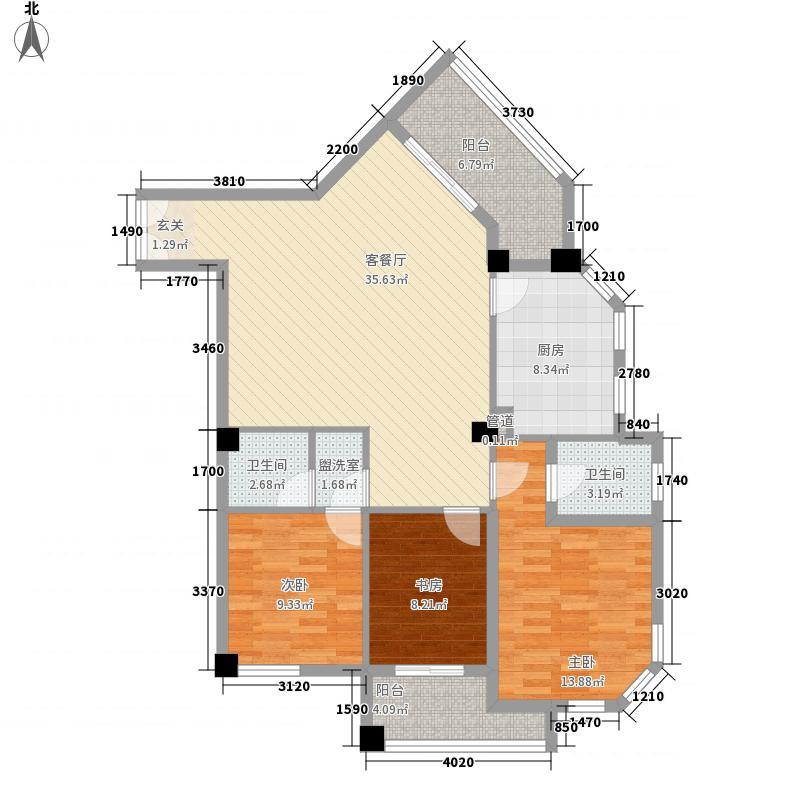 利德・瑞景园3133.52㎡A3户型3室2厅2卫