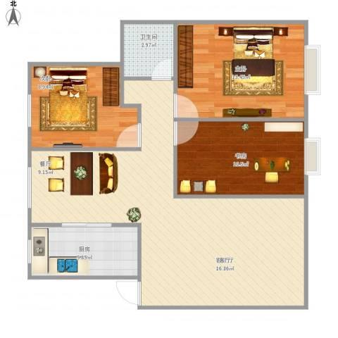 新城明珠3室1厅1卫1厨101.00㎡户型图