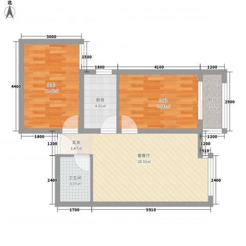 学府街区2室1厅1卫1厨76.00㎡户型图