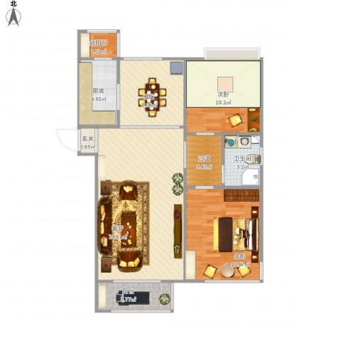 鼎盛新城2室2厅1卫1厨100.00㎡户型图