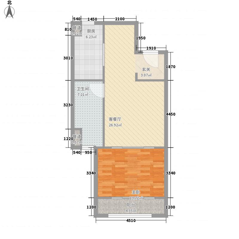 济南中心83.00㎡2-C户型1室2厅1卫1厨