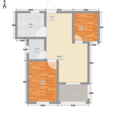 金牛小区南区2室1厅1卫1厨85.00㎡户型图