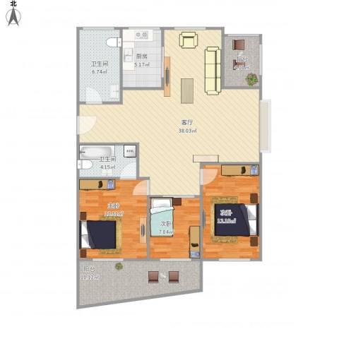 下沙文汇苑3室1厅2卫1厨134.00㎡户型图