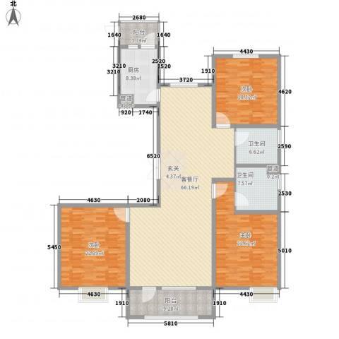 亿隆国际广场3室1厅2卫1厨166.20㎡户型图