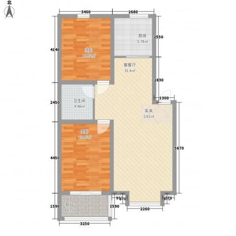吉祥尚府2室1厅1卫1厨88.00㎡户型图