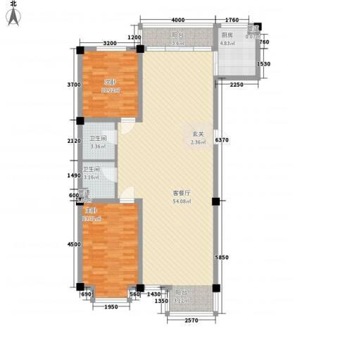 山水龙城2室1厅2卫1厨124.00㎡户型图