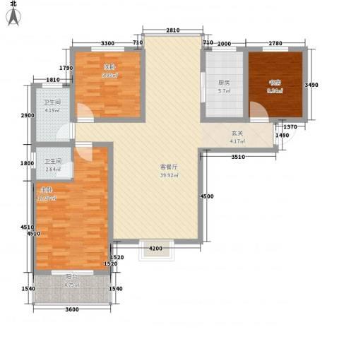 熙城都会3室1厅2卫1厨133.00㎡户型图