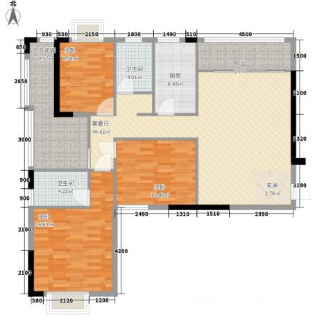 紫宸澜山3室1厅2卫1厨128.00㎡户型图