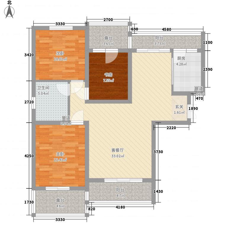 香榭水岸13.00㎡C1C2户型3室2厅1卫1厨