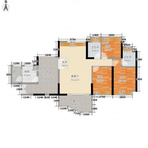 锦绣江南3室1厅2卫1厨146.00㎡户型图