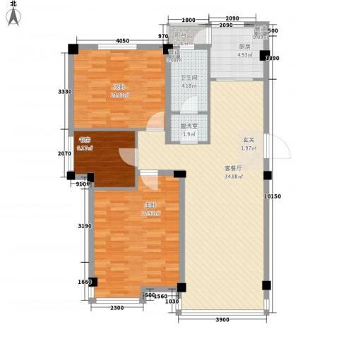 山水龙城3室2厅1卫1厨85.25㎡户型图
