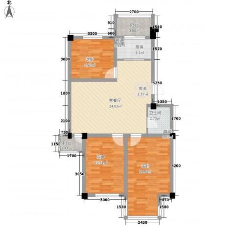 山水龙城3室1厅1卫1厨69.66㎡户型图