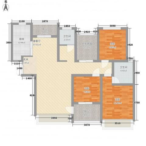 宜居・燕苑3室1厅2卫1厨138.00㎡户型图