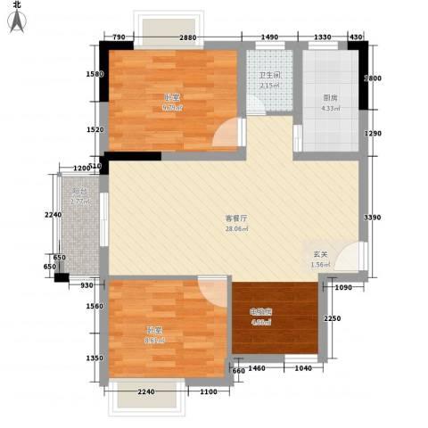 康星顿单身公寓1厅1卫1厨80.00㎡户型图