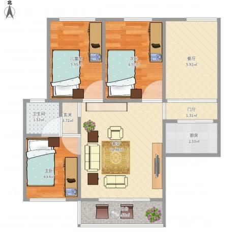 天明城3室2厅1卫1厨60.00㎡户型图