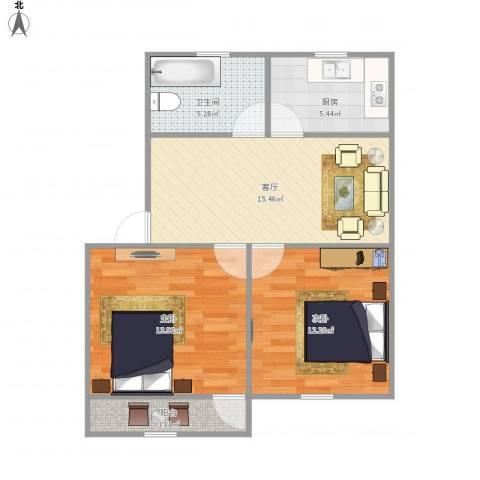 湄长新村2室1厅1卫1厨75.00㎡户型图