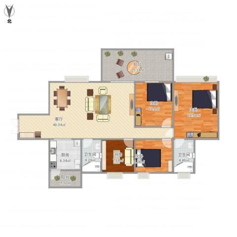 富和名都二期4室1厅2卫1厨157.00㎡户型图