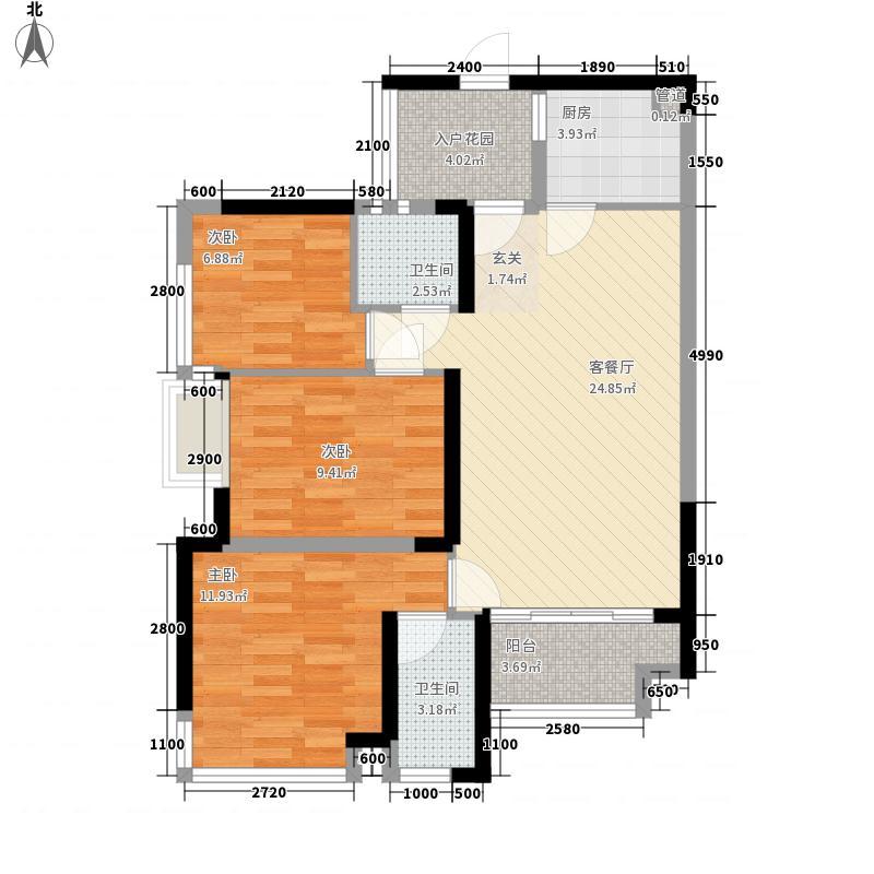 中唯・帝景湾3、4栋01/08单位户型3室2厅2卫1厨