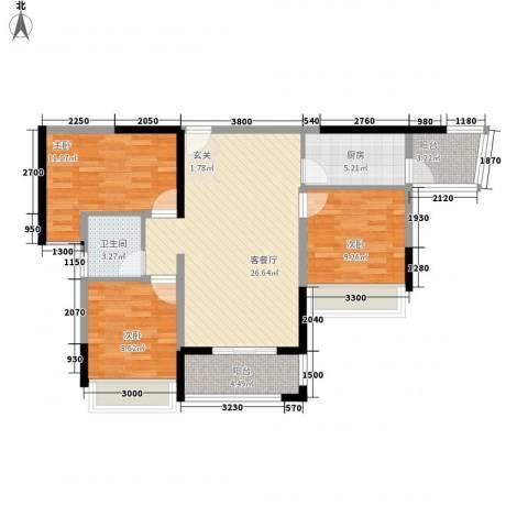 金水湾3室1厅1卫1厨82.64㎡户型图