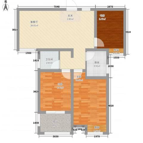 宜居・燕苑3室1厅1卫1厨68.43㎡户型图